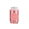 Wild Child Metallic Rose Gold Can Cooler in a pink metallic with bold Wild Child emblem.