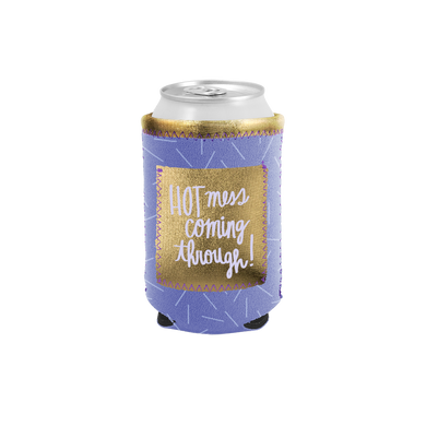 Hot Mess Can Cooler with Pocket is a purple can holder with gold pocket and the lettering 'Hot Mess Coming Through.'