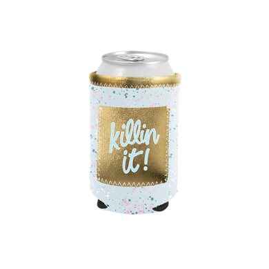 Killin' It Can Cooler with Pocket is a light blue splatter with a metallic gold pocket.