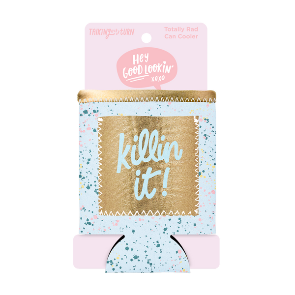 Killin' It Can Cooler with Pocket comes packaged in a cute pink cardboard sleeve.