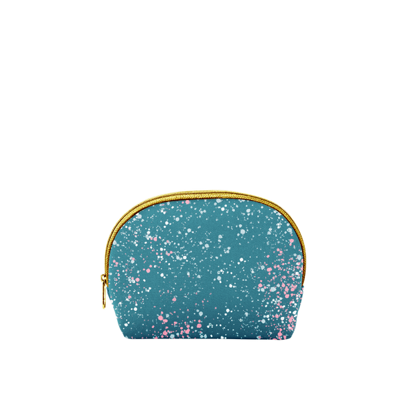 Small cosmetics bag in spruce green with paint splatter print and a gold zipper.