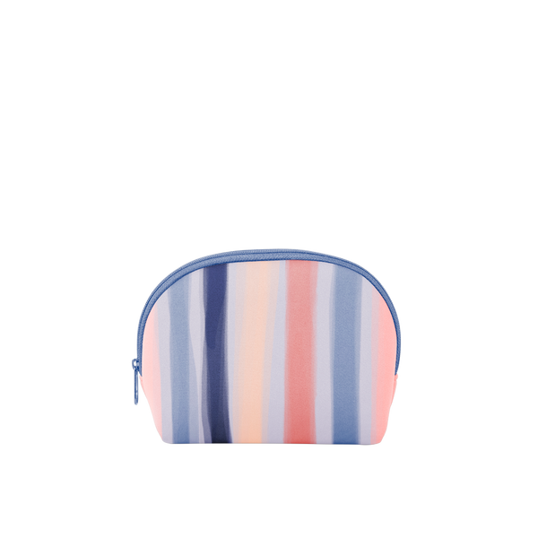 Cosmo Cutie is a cute cosmetics bag with pink, blue, and peach stripes pattern.