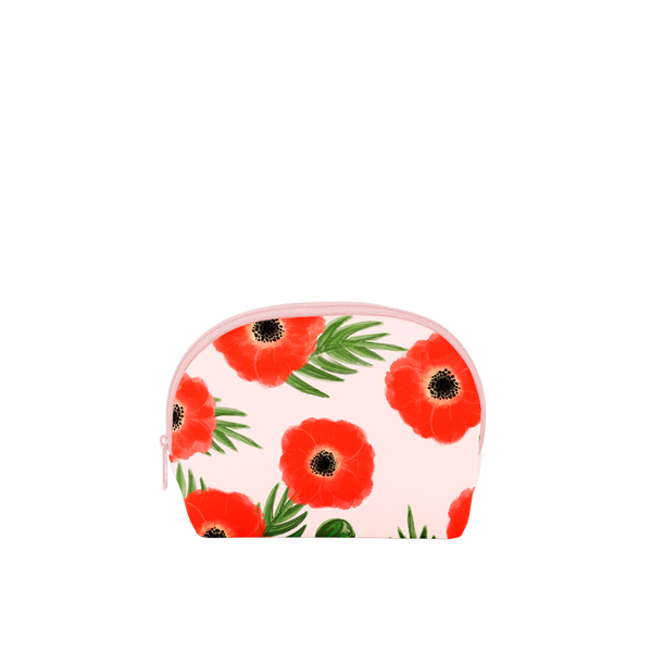This cute cosmetics bag is crafted from neoprene in blush pink with red poppies.