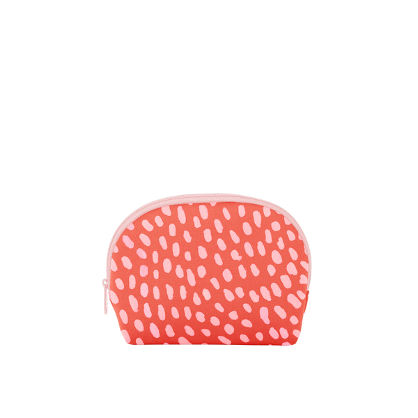 This cute cosmetics bag is red neoprene with a pink dots pattern.