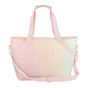 Ice Queen Daybreak is a large soft sided cooler in pastel rainbow with light pink nylon straps.