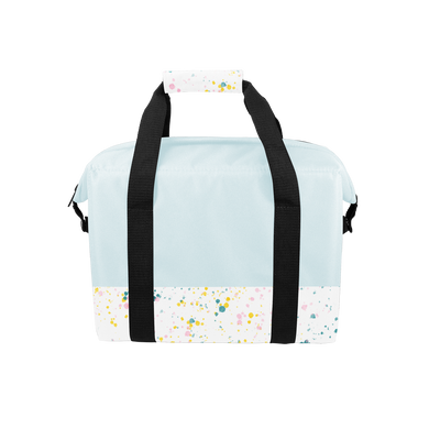 Soft sided cooler bag in powder blue with white paint splatter detail on the bottom and black nylon straps.