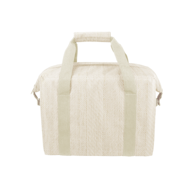 Miss Chill Natural Straw is a soft sided cooler bag crafted from neutral straw material with durable nylon straps.