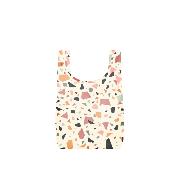 Twist and Shout Terrazzo Cream is a small, cute reusable bag in cream with terrazzo pattern.
