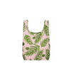Twist and Shout Buds is a small, cute reusable tote bag in pink with green leaves pattern.