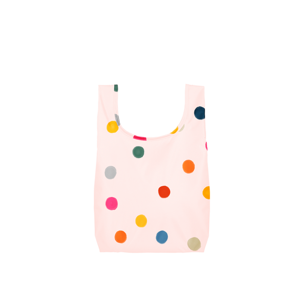 Twist and Shout Ball Pit is a small, cute reusable tote bag in pink with rainbow polka dot pattern.