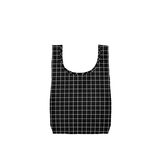 Twist and Shout Very Official is a small, cute reusable tote bag in black with a white grid pattern.