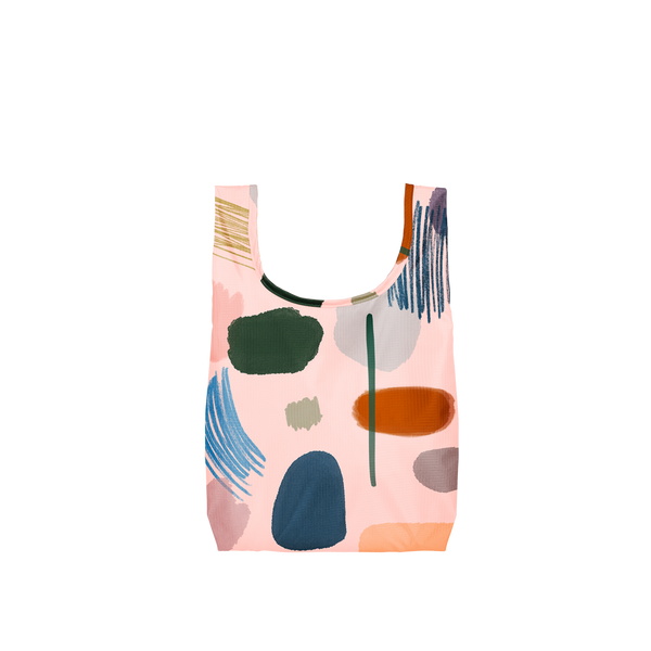 Twist and Shout Everyone's an Artist is a small, cute reusable tote bag in light pink with abstract painterly design.