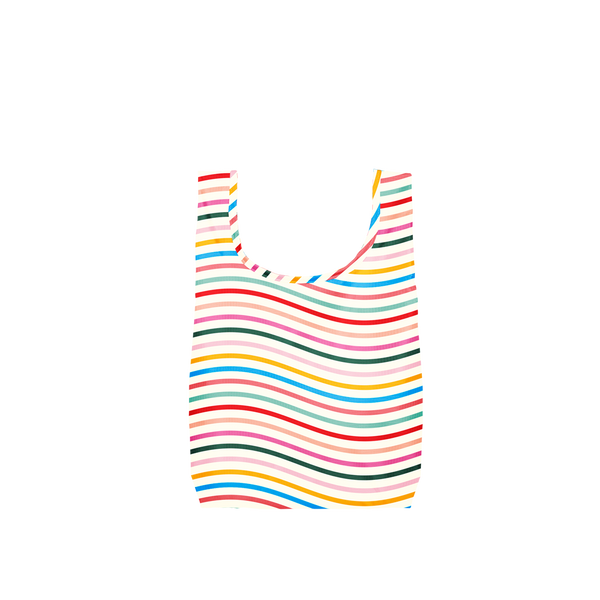 Twist and Shout Limbo is a small, cute reusable bag in a rainbow wavy lines print.