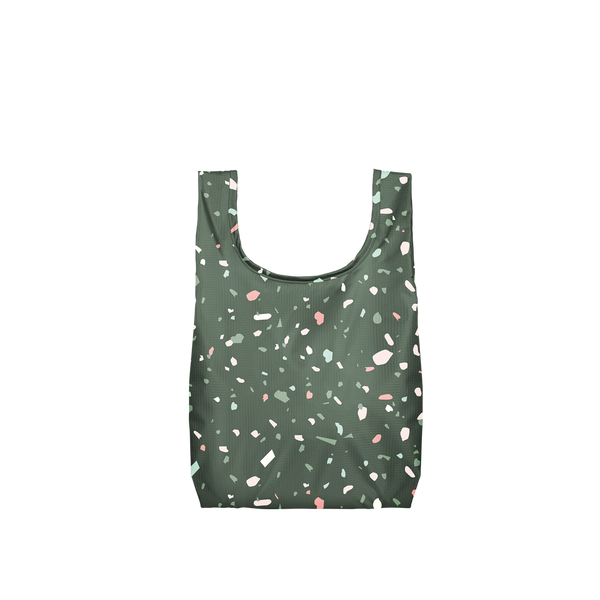 Twist and Shout Tiny Terrazzo Green is a small, cute reusable bag in dark green with terrazzo pattern.
