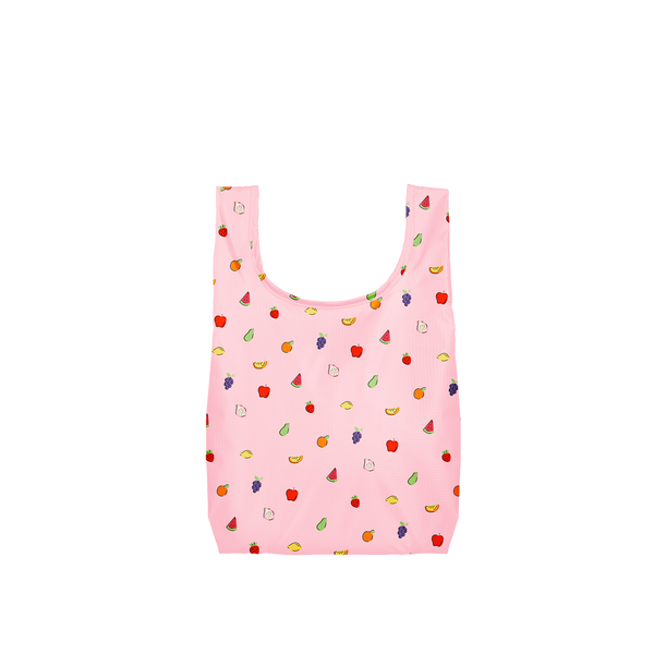 Twist and Shout Fruit Punch is a small, cute reusable bag in pink with tiny fruits pattern.