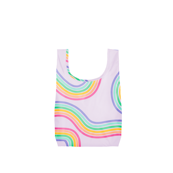 A small purple reusable tote with rainbow paths twisting on and off the tote.