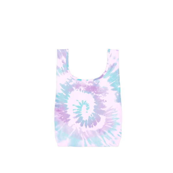 A small purple, blue and light purple tie dye reusable tote.