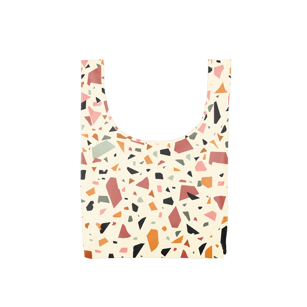 Twist and Shout Terrazzo Cream is a medium, cute reusable bag in cream with terrazzo pattern.