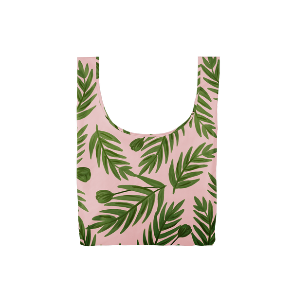 Twist and Shout Buds is a medium, cute reusable tote bag in pink with green leaves pattern.