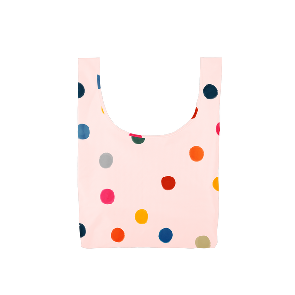 Twist and Shout Ball Pit is a medium, cute reusable tote bag in pink with rainbow polka dot pattern.