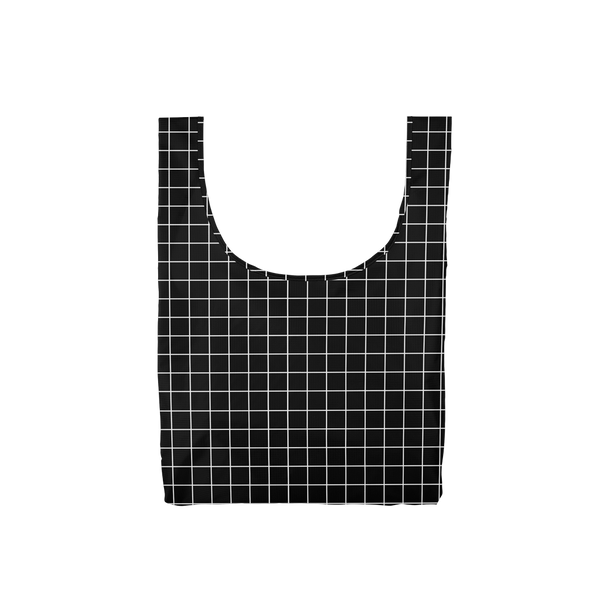Twist and Shout Very Official is a medium, cute reusable tote bag in black with a white grid pattern.