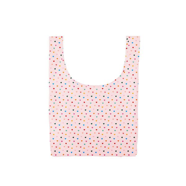 Twist and Shout Tiny Hearts is a medium, cute reusable tote bag in pink with rainbow hearts pattern.