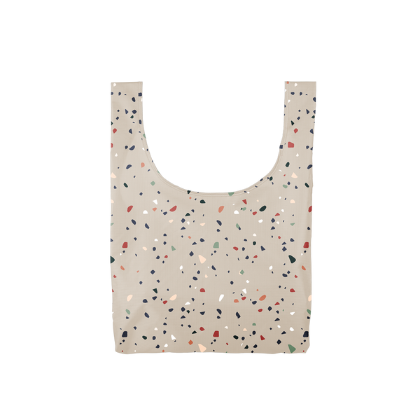 Twist and Shout Tiny Terrazzo Gray is a medium, cute reusable bag in gray with terrazzo pattern.