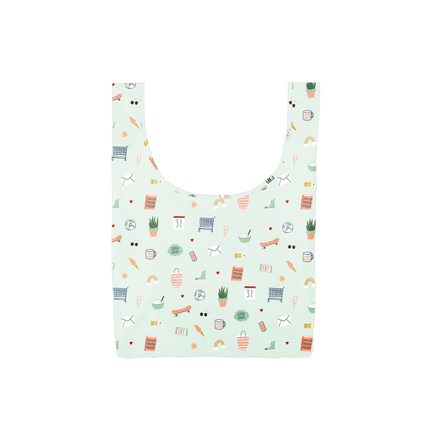 Twist and Shout Lucky Charms is a medium, cute reusable bag in light blue with illustrated charms pattern.