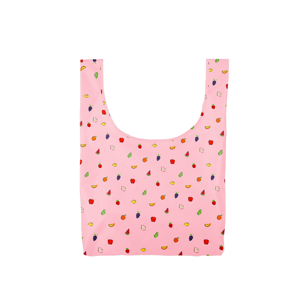 Twist and Shout Fruit Punch is a medium, cute reusable bag in pink with tiny fruits pattern.
