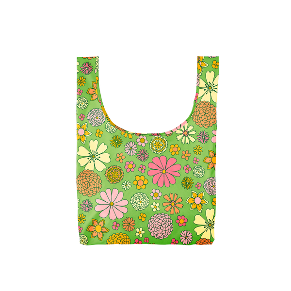 A medium, green reusable tote with yellow, orange, pink, green and coral flowers.