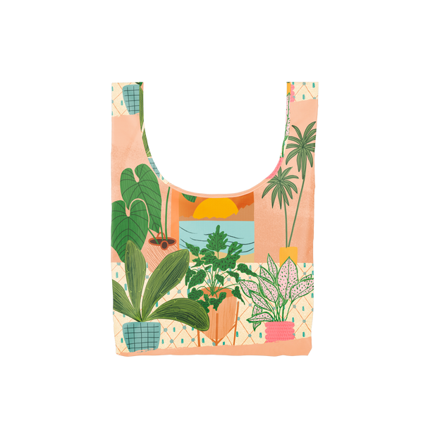 A costal scene out a window with potted plants surrounding the window on a medium reusable tote.