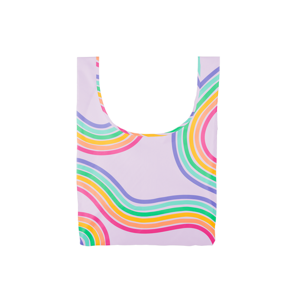 A medium purple reusable tote with rainbow paths twisting on and off the tote.