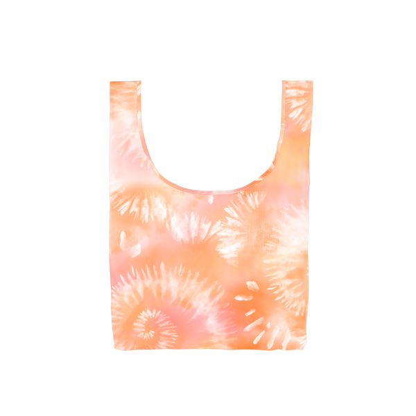 A medium orange, light pink and white tie dye reusable tote.