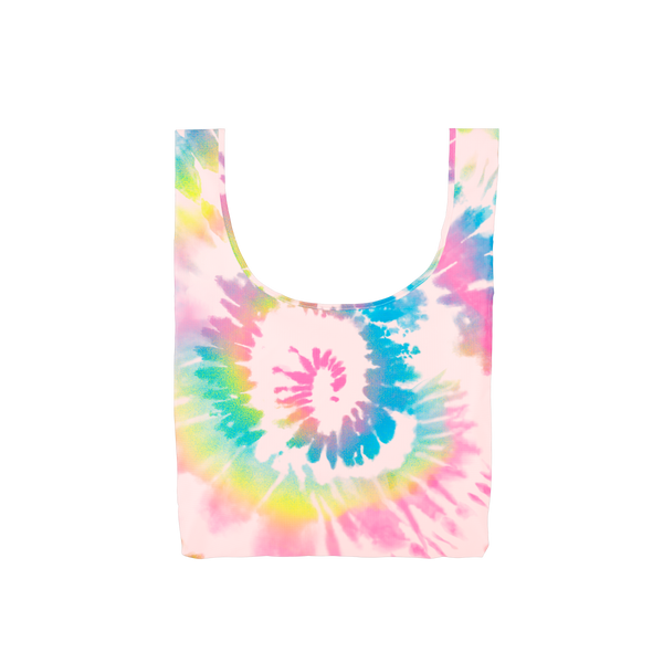 A medium pink, blue, dark pink and yellow tie dye reusable tote.