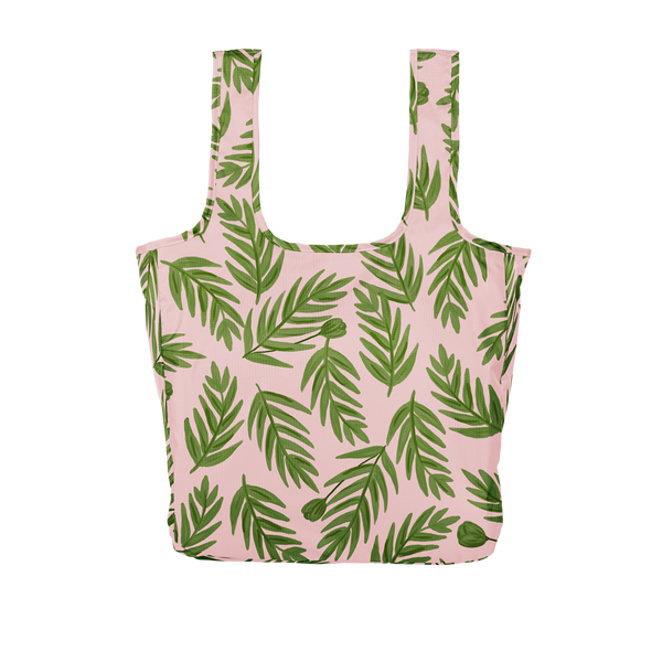 Twist and Shout Buds is a large, cute reusable tote bag in pink with green leaves pattern.