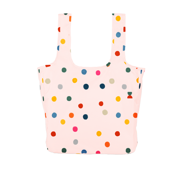 Twist and Shout Ball Pit is a large, cute reusable tote bag in pink with rainbow polka dot pattern.