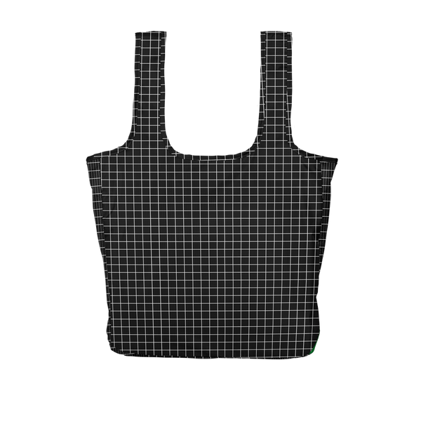 Twist and Shout Very Official is a large, cute reusable tote bag in black with a white grid pattern.