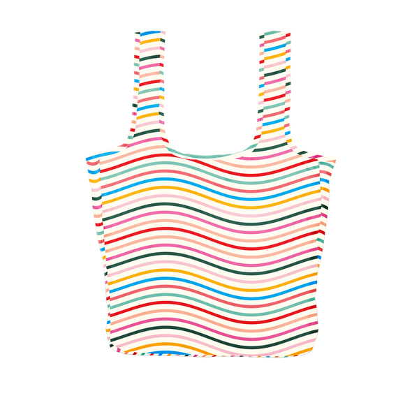 Twist and Shout Limbo is a large, cute reusable bag in a rainbow wavy lines print.