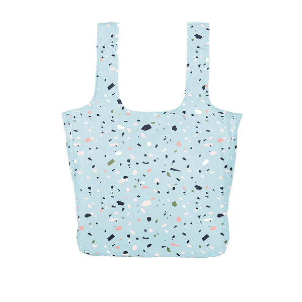 Twist and Shout Tiny Terrazzo Blue is a large, cute reusable bag in light blue with terrazzo pattern.