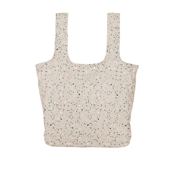 Twist and Shout Tiny Terrazzo Gray is a large, cute reusable bag in gray with terrazzo pattern.