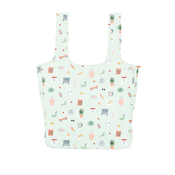 Twist and Shout Lucky Charms is a large, cute reusable bag in light blue with illustrated charms pattern.