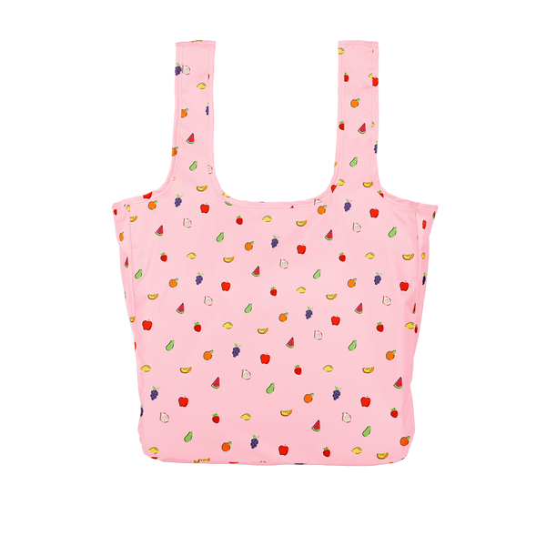 Twist and Shout Fruit Punch is a large, cute reusable bag in pink with tiny fruits pattern.