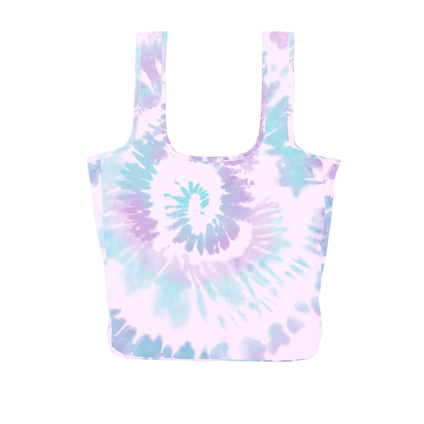 A large purple, blue and light purple tie dye reusable tote.
