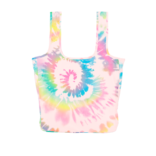 A large pink, blue, dark pink and yellow tie dye reusable tote.