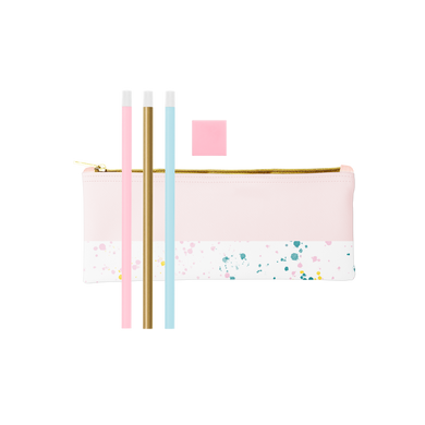Cute pencil kit of a blush pink zippered pouch, three pastel and gold pencils, and a pink eraser.