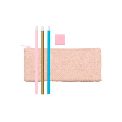 Straw Pencil Kit includes cute pencil pouch, three pencils, and an eraser.