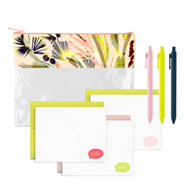 Tropics Stationery Kit includes a clear pencil pouch, three jotter pens, and a cute stationery set.