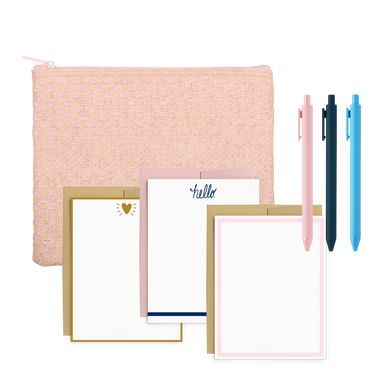Straw Stationery Kit includes a cute pencil pouch, three jotter pens, and a cute stationery set.