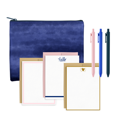 Indigo Dreams Stationery Kit includes a large pencil pouch, three jotter pens, and a cute stationery set.