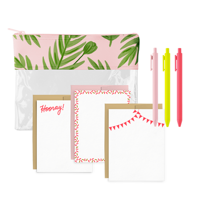 Poppies Please Stationery Kit includes a cute pencil pouch, jotter pens, and a cute stationery set.